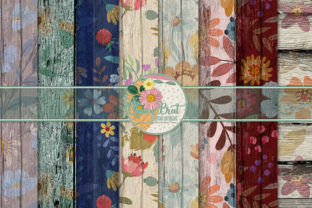 Floral Wood Papers 4 Graphic Backgrounds By QueenBrat Digital Designs
