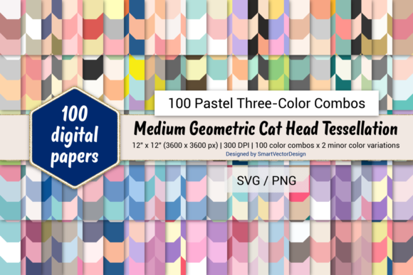 Print on Demand: Geom Cat Head Paper - Three-Color Pastels Graphic Backgrounds By SmartVectorDesign