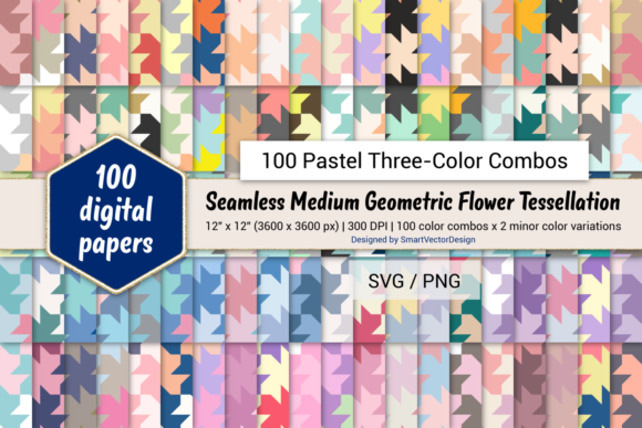 Print on Demand: Geom Flower Paper - Three-Color Pastels Graphic Backgrounds By SmartVectorDesign