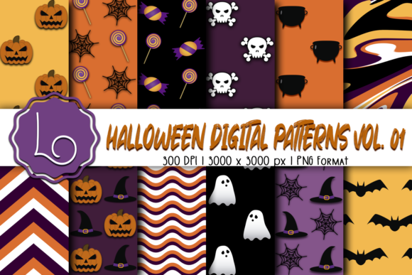 Print on Demand: Halloween Digital Patterns Vol. 01 Graphic Patterns By La Oliveira