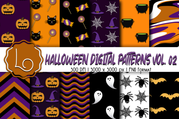 Print on Demand: Halloween Digital Patterns Vol. 02 Graphic Patterns By La Oliveira - Image 1