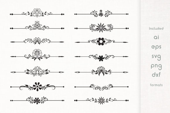 Print on Demand: Handmade Floral Dividers Set Graphic Illustrations By Dasagani