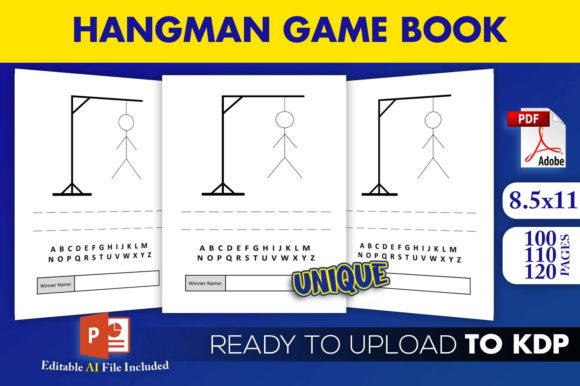 Print on Demand: Hangman Paper Game Book | KDP Interior Graphic KDP Interiors By Beast Designer