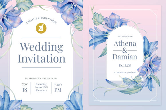 Harebell Flower Wedding Invitation Graphic Print Templates By Chanut is industries