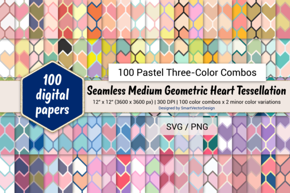 Print on Demand: Heart Tessellation - Three-Color Pastels Graphic Backgrounds By SmartVectorDesign