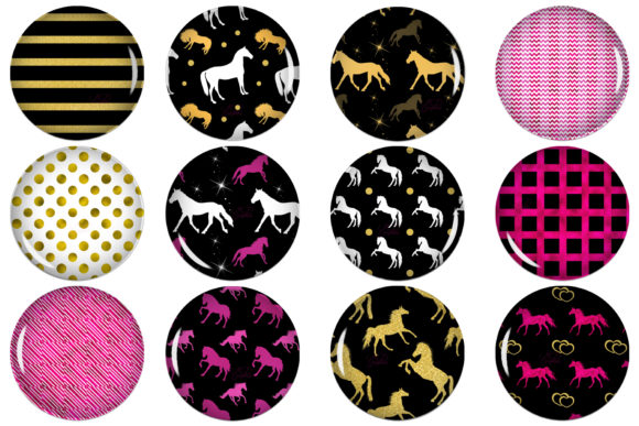 Horses Circle Images, Digital Collage Graphic Crafts By denysdigitalshop
