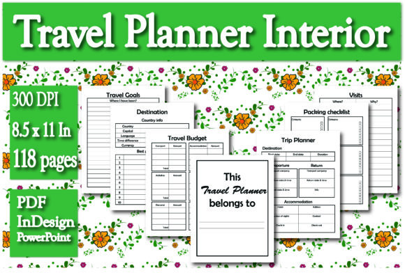 Print on Demand: KDP Travel Planner Interior Graphic KDP Interiors By Ivana Prue