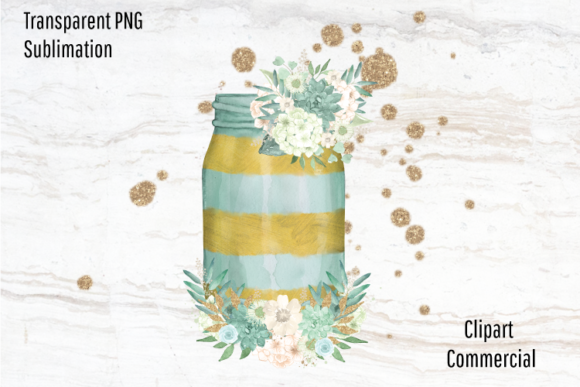 Print on Demand: Mason Jar Clipart Watercolor Flowers Graphic Illustrations By Blueberry Jam Design
