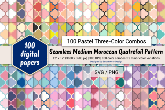 Print on Demand: Moroccan Quatrefoil - Three-Color Pastels Graphic Backgrounds By SmartVectorDesign