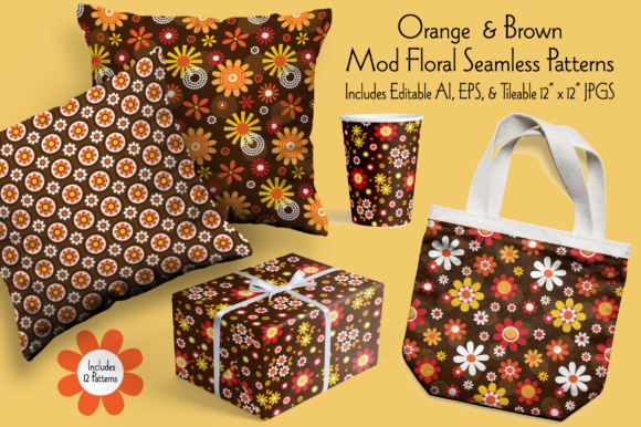 Orange & Brown Mod Seamless Floral Pattern Graphic Patterns By Melissa Held Designs