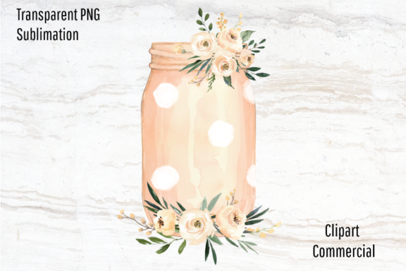 Print on Demand: Pink Polka Dot Mason Jar Clipart Png Graphic Illustrations By Blueberry Jam Design