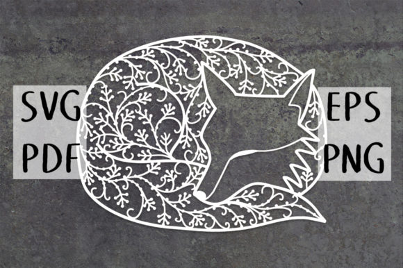 Print on Demand: Sleeping Fox Papercut Graphic Crafts By Nic Squirrell - Image 1