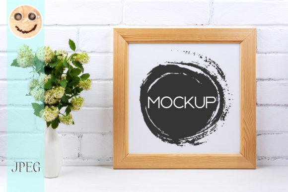 Square Wooden Picture Frame Mockup Graphic