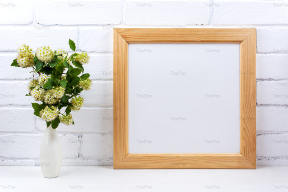Square Wooden Picture Frame Mockup Download