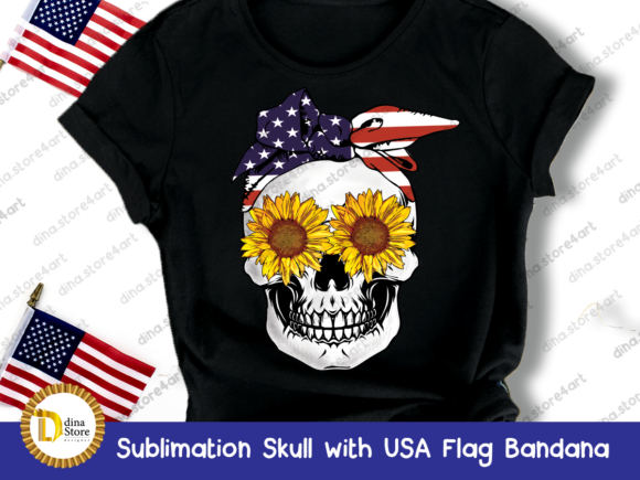 Print on Demand: Sublimation Skull with USA Flag Bandana Graphic Crafts By dina.store4art