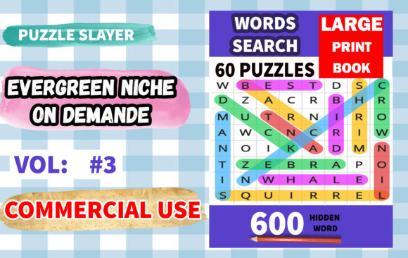 Word Serch Puzzle with Solution Vol.4 Graphic KDP Interiors By PuzzleSlayer