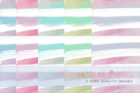 Print on Demand: Colorful Watercolour Stripes Clip Art Graphic Illustrations By SunflowerLove