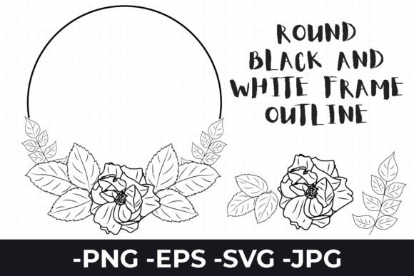 Print on Demand: Round Black White Frame Outline Flower Graphic Illustrations By AzrielMch