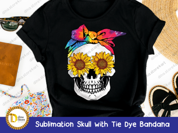 Print on Demand: Sublimation Skull with Tie Dye Bandana Graphic Crafts By dina.store4art