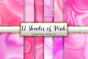 Print on Demand: 12 Shades of Pink Marble Background Graphic Backgrounds By PinkPearly