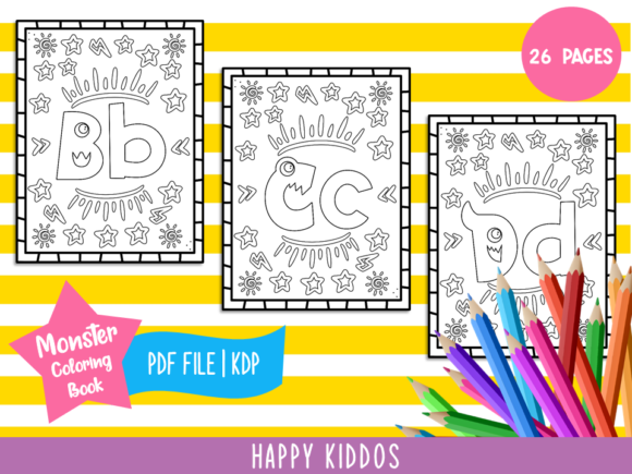 Alphabet Monster Coloring Book for Kids Grafik Ausmalseiten & Malbücher für Kinder von Happy Kiddos