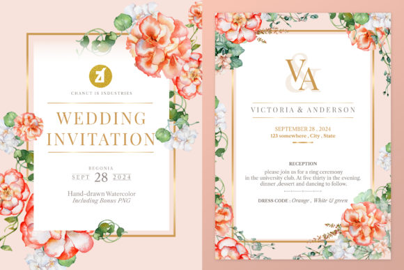 Begonia Wedding Invitation Graphic Graphic Print Templates By Chanut is industries