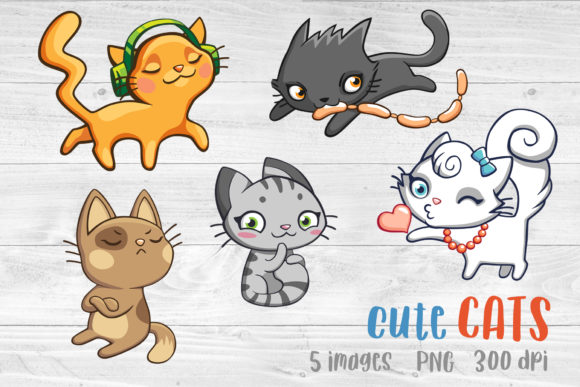 Cat Bundles Cat Clipart Cat Sublimation Graphic Illustrations By GreenWolf Art