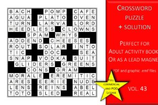 Print on Demand: Crossword Puzzle Page with Solutions V43 Graphic KDP Interiors By Fleur de Tango