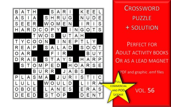 Print on Demand: Crossword Puzzle Page with Solutions V56 Graphic KDP Interiors By Fleur de Tango