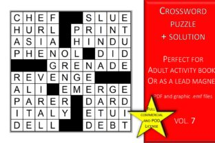 Print on Demand: Crossword Puzzle Page with Solutions V.7 Graphic KDP Interiors By Fleur de Tango