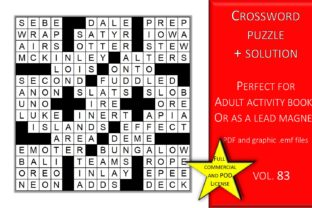 Print on Demand: Crossword Puzzle Page with Solutions V83 Graphic KDP Interiors By Fleur de Tango