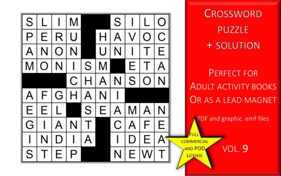 Print on Demand: Crossword Puzzle Page with Solutions V.9 Graphic KDP Interiors By Fleur de Tango