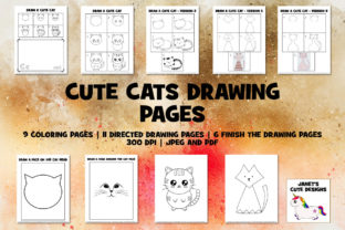 Print on Demand: Cute Cats Drawing Pages Graphic K By Janet's Cute Designs