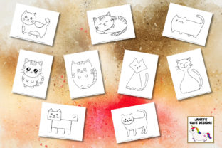 Print on Demand: Cute Cats Drawing Pages Graphic K By Janet's Cute Designs 4