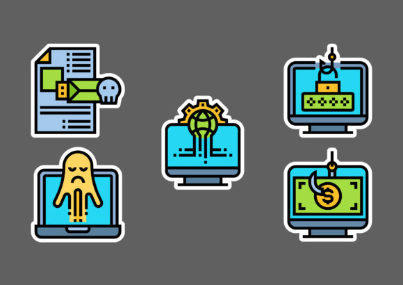 Cyber Robbery Stickers White Graphic Icons By ciloraphic