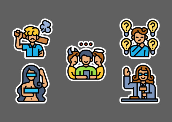 Cyberbullying Stickers White Graphic Icons By ciloraphic