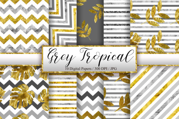 Grey Tropical Glitter Digital Papers Graphic Backgrounds By PinkPearly