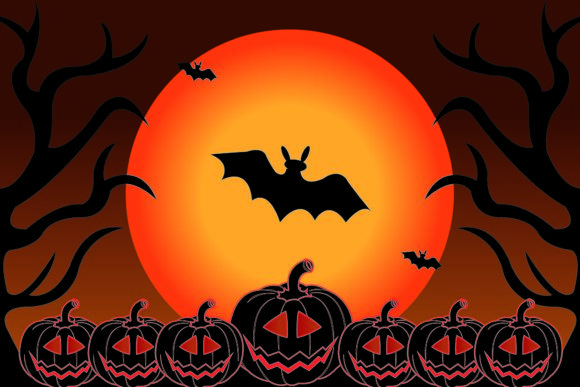 Halloween Dead Forest and Bats Graphic Illustrations By garnetastudio