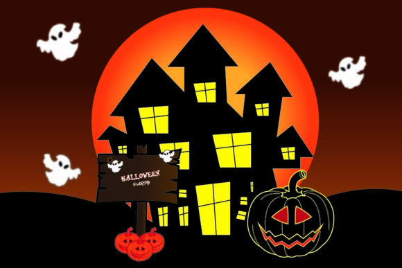 Halloween House with Party Graphic Illustrations By garnetastudio