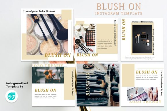 Instagram Feed Template - Blush on Graphic Presentation Templates By 57creative