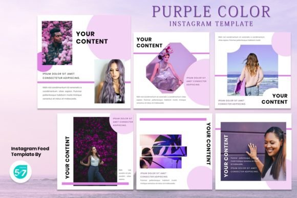 Instagram Feed Template - Purple Color Graphic Presentation Templates By 57creative
