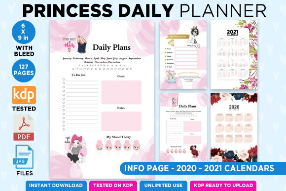 Print on Demand: KDP 6x9 Princess Daily Planner Organizer Graphic KDP Interiors By Queen Dreams Store