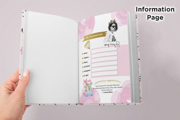 KDP 6x9 Princess Daily Planner Organizer Graphic Download