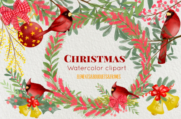 Print on Demand: Watercolor Christmas Flower and Red Bire Graphic Illustrations By Suda Digital Art