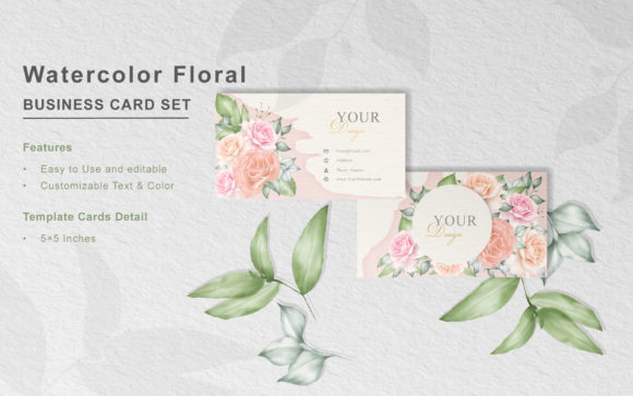 Print on Demand: Watercolor Floral Business Card Template Graphic Print Templates By FederiqoEND