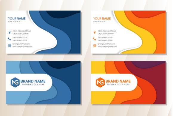 Print on Demand: Blue Orange Wavy Business Card Graphic Print Templates By noory.shopper