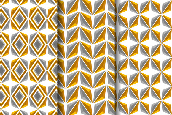 Print on Demand: Gold Grey 3d Triangle Pattern Graphic Patterns By noory.shopper