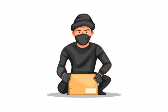 Print on Demand: Thief Crime Stealing Parcel Box Vector Graphic Illustrations By aryo.hadi