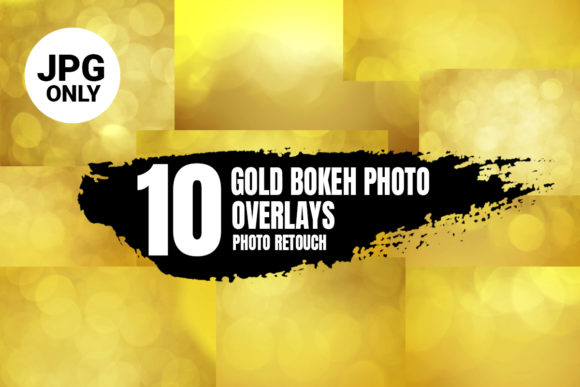Print on Demand: 10 Gold Bokeh Photo Overlays, JPG Image Grafik Abstrakt von 99 Siam Vector