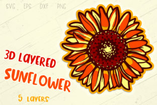 Print on Demand: 3D Layered Sunflower  Graphic 3D Flowers By tatiana.cociorva